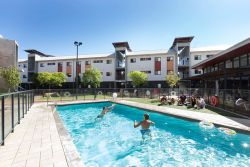 Swimming pool view of student village at ECU Mount Lawley
